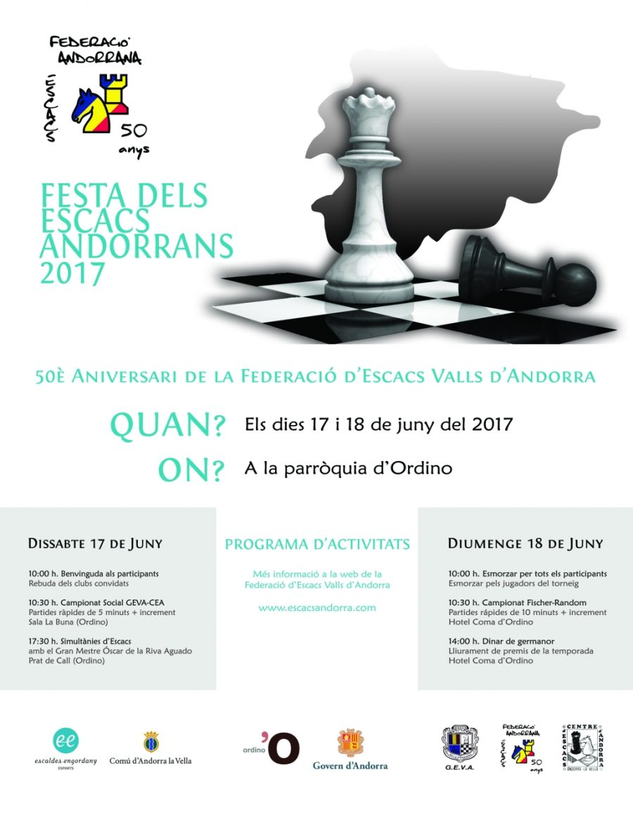 Festa Escacs Andorrans 2017 – Informació